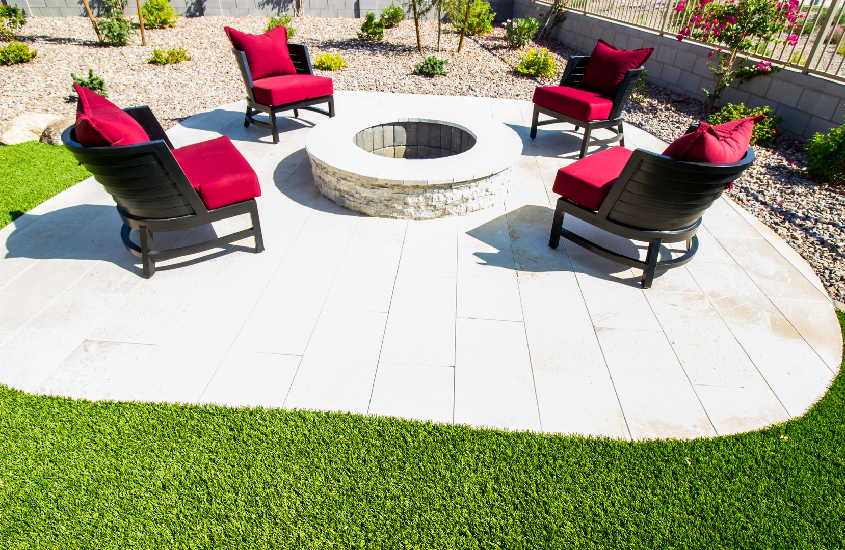 Four Patio Chairs With Cushions Surrounding Rear Patio Round Fir