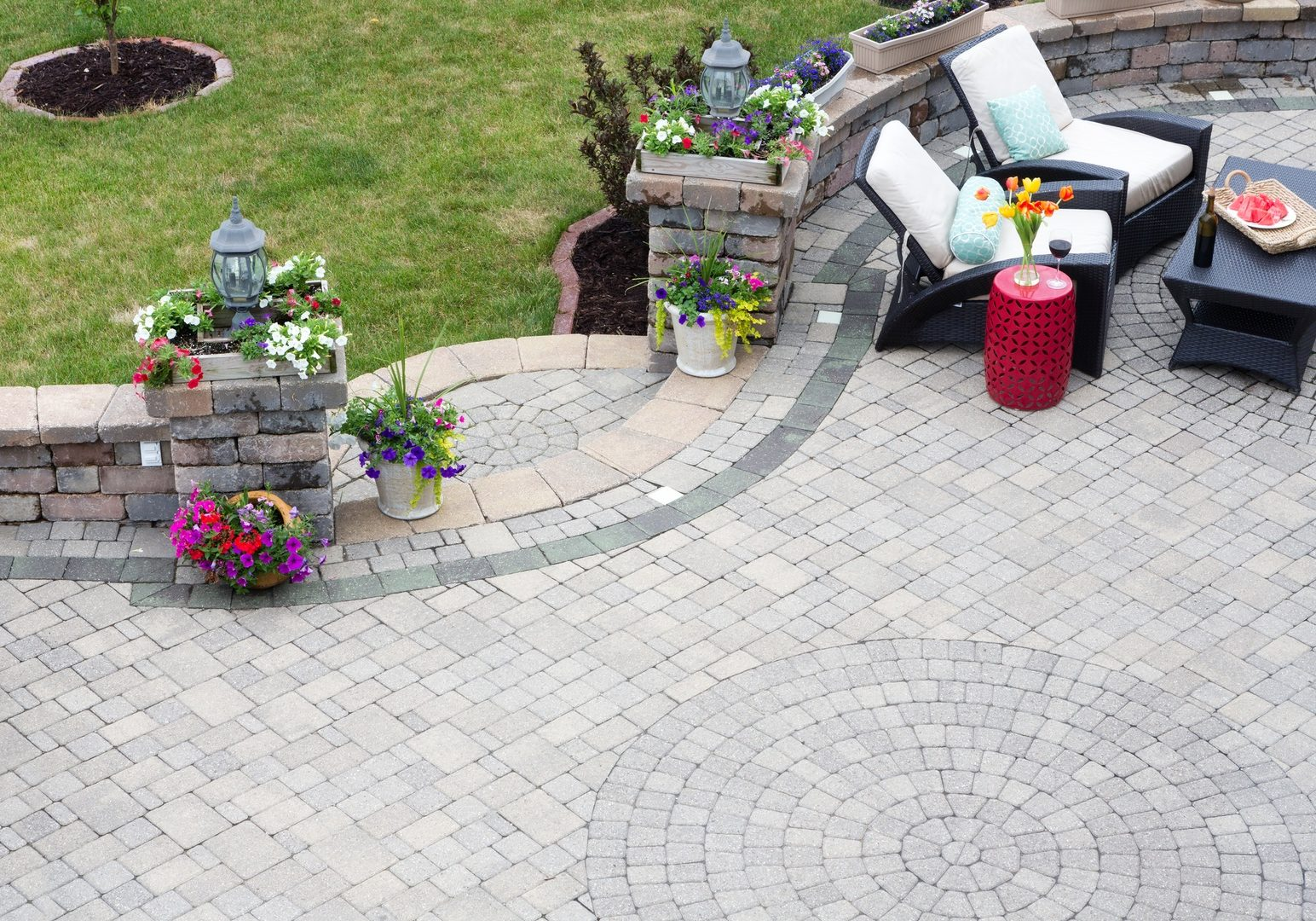 Decorative paving on an outdoor patio